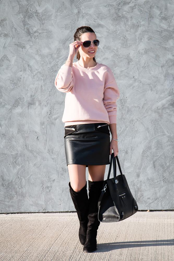 Pink Sweatshirt Amp Black Mini Skirt Tina Chic