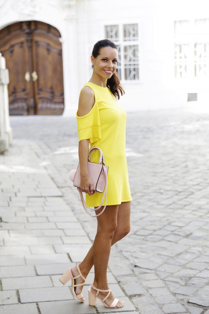 yellow dress pink shoes tina chic